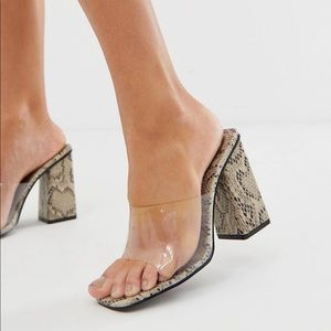 NEW Public Desire snake clear detail mules. Size 5